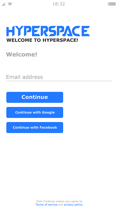 Sign up with email or log in with Google | Hyperspace Cloud Android Emulator